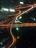 Bangkok traffic. Traffic flows of Bangkok at night Stock Image