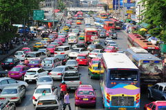 Bangkok traffic. Traffic congestion in downtown, Bangkok, Thailand Stock Photos