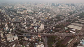 Bangkok traffic aerial view stock footage