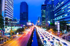 Bangkok with traffic jam Stock Photography