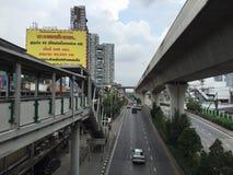 Bangkok Traffic - May 4, 2015. Bangkok - May 4, 2015: City Landscape which is composed of road and sky train at Sukhumvit road, Bangkok on May 4, 2015 Stock Photo