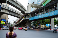 Bangkok Traffic near the Ratchaprasong cross road Royalty Free Stock Photo