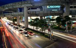 Bangkok Traffic at Night Royalty Free Stock Image