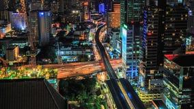 Bangkok traffic at night (Timelapse). Aerial view of traffic and transportation in Bangkok at night stock footage