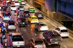 Bangkok traffic nightmare. Traffic jam in bangkok at night , Traffic problems in Bangkok, Thailand Aug, 18 , 2018 royalty free stock photography