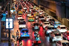Bangkok traffic nightmare. Traffic jam in bangkok at night , Traffic problems in Bangkok, Thailand Aug, 18 , 2018 stock images