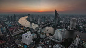 Bangkok traffic river roof top cityscape panorama 4k time lapse thailand stock video footage