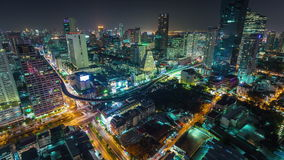 Bangkok traffic silom street downtown roof top panorama 4k time lapse thailand