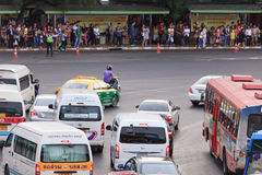 Bangkok traffic at Victory monument. Bangkok, Thailand - July 18, 2015: Bangkok traffic at Victory monument. Bangkok is famous for its heavy traffic congestion Stock Photos