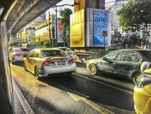 Bangkok traficjam op de ochtend met rimlight Stock Afbeelding