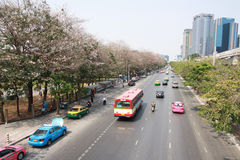 Bangkok trafik i lördags morgon Royaltyfri Bild