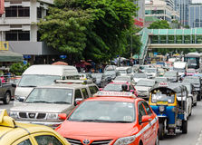 Bangkok trafikstockningar Fotografering för Bildbyråer