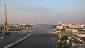 Bangkok Transportation. At a bridge in the evening Timelapse stock video