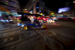 Bangkok Tuk-Tuk Taxi Night Blur Stock Photography