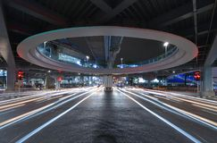Bangkok tunnel intersection with traffic jam at Siam, technology. Transportation concept, Bangkok City, Thailand stock image