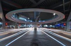 Bangkok tunnelgenomskärning med trafikstockning på Siam, teknologi fotografering för bildbyråer