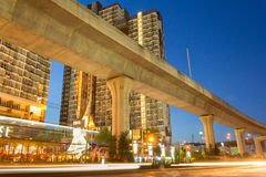 Bangkok twilight scene. Thailand, Bangkok,19 May, 2015 : Time lapse video of  Bangna junction on night scene with twilight background,Bangna is the east of Stock Images