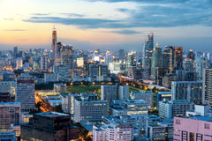 Bangkok urban skyline with skyscraper building in center busines Royalty Free Stock Photo
