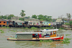 Bangkok, Vieuw from Khlong Bangkok Noi canal. Thailand, Bangkok, Vieuw from Khlong Bangkok Noi canal with boats, houses on stilts and aquatic plants Stock Image