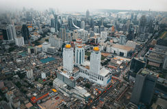 Bangkok widok Nad widok od Baiyoke wierza II wysokiego budynku, Obrazy Royalty Free