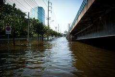 Bangkok worst flood in 2011 Royalty Free Stock Photography