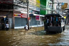 Bangkok worst flood in 2011 Royalty Free Stock Photos