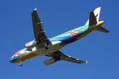 BANGKOKAIRWAY. HS-PGW Airbus A320-200 BANGKOKAIRWAY, Landing to chiangmai, from bangkok Royalty Free Stock Image