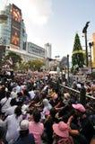 BangkokThailand - 01 13 το 2014 τα κίτρινα πουκάμισα εμποδίζουν Ratchaprasong ως τμήμα της λειτουργίας της Μπανγκόκ ` κλεισίματος Στοκ Φωτογραφίες