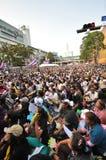 BangkokThailand - 01 13 το 2014 τα κίτρινα πουκάμισα εμποδίζουν Ratchaprasong ως τμήμα της λειτουργίας της Μπανγκόκ ` κλεισίματος Στοκ Εικόνα