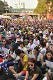 BangkokThailand - 01 13 το 2014 τα κίτρινα πουκάμισα εμποδίζουν Ratchaprasong ως τμήμα της λειτουργίας της Μπανγκόκ ` κλεισίματος Στοκ φωτογραφίες με δικαίωμα ελεύθερης χρήσης