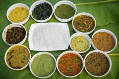 Bangla Cuisine Vorta, vaji, fish curry and vegetables curry platter. The fish is popular food amongst the people of South Asia and in the Middle East, but Royalty Free Stock Photos