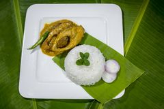 Bangla Cuisine Vorta, vaji, fish curry and vegetables curry platter. The fish is popular food amongst the people of South Asia and in the Middle East, but Stock Photos