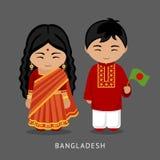 Bangladais dans la robe nationale avec un drapeau illustration stock