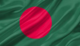 Bangladesch fahnenschwenkend mit dem Wind, Illustration 3D Lizenzfreie Stockfotos