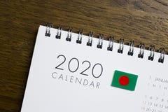 Bangladesch-Flaggen-2020 Kalender stockbilder