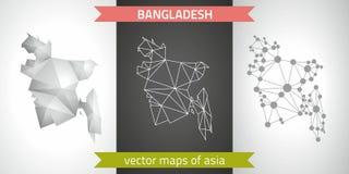 Bangladesch-Satz Grau und polygonale Karten des Silbermosaiks 3d Grafische Vektordreieckgeometrieentwurfs-Schattenperspektive zei Lizenzfreie Stockfotografie