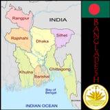 Bangladesh Administrative divisions. Bangladesh map flag and coat Stock Photo