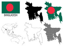 Bangladesh - Contour maps, National flag and Asia map vector Stock Photo