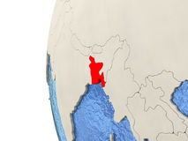 Bangladesh on 3D globe. Map of Bangladesh on globe with watery blue oceans and landmass with visible country borders. 3D illustration Royalty Free Stock Photography