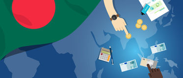 Bangladesh Daka economy fiscal money trade concept illustration of financial banking budget with flag map and currency Royalty Free Stock Photography