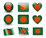 The Bangladesh flag. Set of icons and flags. glossy and matte on a white background Royalty Free Stock Photos