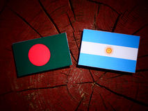 Bangladesh flag with Argentinian flag on a tree stump  Royalty Free Stock Image