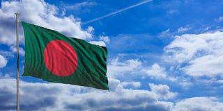 Bangladesh flag on a blue sky background. 3d illustration Royalty Free Stock Image