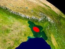 Bangladesh with flag on Earth Stock Photo