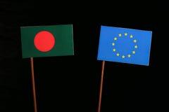 Bangladesh flag with European Union EU flag isolated on black. Background Stock Images
