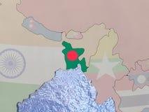 Bangladesh with flag on globe Stock Image