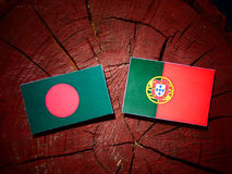 Bangladesh flag with Portuguese flag on a tree stump isolated. Bangladesh flag with Portuguese flag on a tree stump stock illustration