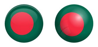 Bangladesh flag under 3d dome button and on glossy sphere / ball.  royalty free illustration