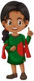 Bangladesh girl in green costume. Illustration vector illustration
