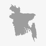 Bangladesh map in gray on a white background Royalty Free Stock Photos